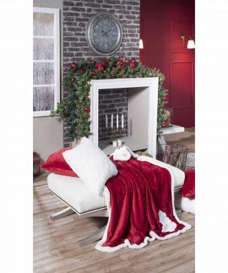 Χριστουγεννιάτικο Διακοσμητικό Ριχτάρι - Κουβέρτα Καναπέ με γουνάκι (130x160) RED TREE της TEORAN