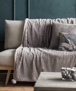 Κουβέρτα Καναπέ με γουνάκι SOFTY 478/15 της GOFIS (130x155) GRAY