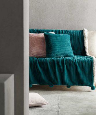 Κουβέρτα Καναπέ με γουνάκι SOFTY 478/18 της GOFIS (130x155) PETROL