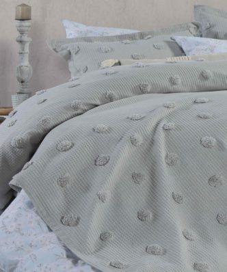 Πικέ Κουβέρτα Υπέρδιπλη INDILA της NEF-NEF (230x240) L.GREY