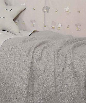 Βρεφική (bebe) Κουβέρτα Κούνιας SMOOTH GREY της NEF-NEF (110x150)