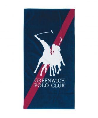 Πετσέτα Θαλάσσης Essential 3513 της POLO CLUB (80x160) ΜΠΛΕ-ΚΟΚΚΙΝΟ-ΛΕΥΚΟ