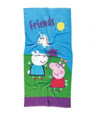 Πετσέτα Θαλάσσης Cartoon Line 5847 PEPPA PIG της Das Home (70x140) ΜΠΛΕ-ΠΡΑΣΙΝΟ-ΜΩΒ