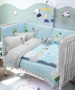 Βρεφικό Κουβερλί Κούνιας (bebe) Baby Smile Digital 6581 της Das Home (110x150) ΓΚΡΙ-ΓΑΛΑΖΙΟ