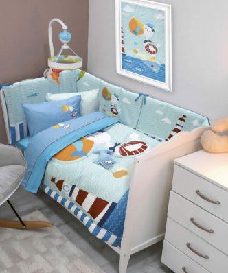 Βρεφικό Κουβερλί Κούνιας (bebe) Baby Smile Digital 6582 της Das Home (110x150) ΓΑΛΑΖΙΟ-ΜΠΛΕ