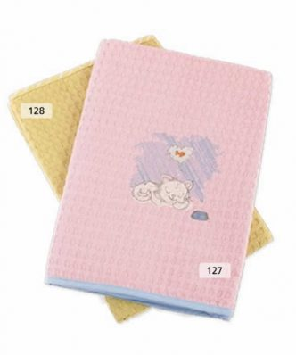 Βρεφική Κουβέρτα Πικέ Αγκαλιάς (bebe) ΓΑΤΑΚΙ 127 ΡΟΖ/ΣΙΕΛ της DIMcol