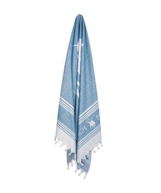 Πετσέτα Θαλάσσης Essential 3524 της POLO CLUB (80x180) ΜΠΛΕ-ΛΕΥΚΟ
