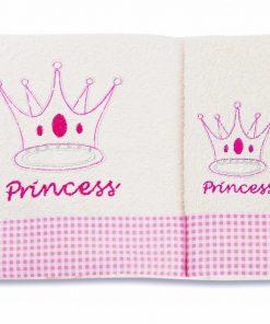 Σετ Βρεφικές Πετσέτες (bebe 2τμχ.) PRINCESS 34 ΕΚΡΟΥ/ΡΟΖ της DIMcol