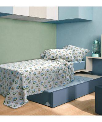 Σετ Παιδικά Σεντόνια Μονά ELVIN BLUE της Sb Home (160x240)