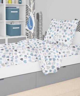 Βρεφικό (bebe) Πάπλωμα Κούνιας Hearts 08 της DIMcol (120x160) Blue