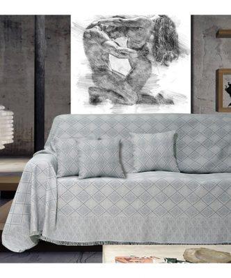 Ριχτάρι 3θέσιου Καναπέ KASANDRA SILVER της Sb Home (180x300)