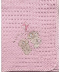 Βρεφική (Bebe) Κουβέρτα Πικέ Κούνιας ΧΑΡΤΑΕΤΟΣ 95 της DIMcol (100x160) ΡΟΖ