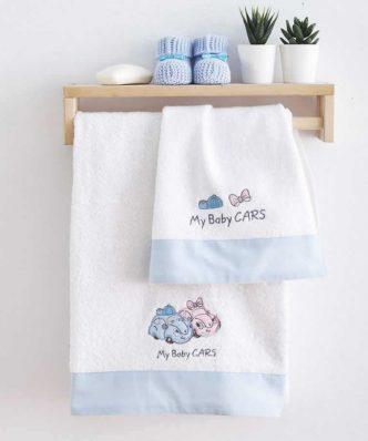 Σετ (2τμχ) Βρεφικές Πετσέτες Μπάνιου MY BABY CARS της Sb Home BLUE
