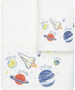 Σετ (2τμχ) Παιδικές Πετσέτες ΔΙΑΣΤΗΜΑ της BOREA (70x120 + 30x50) ΕΚΡΟΥ