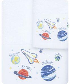 Σετ (2τμχ) Παιδικές Πετσέτες ΔΙΑΣΤΗΜΑ της BOREA (70x120 + 30x50) ΛΕΥΚΟ