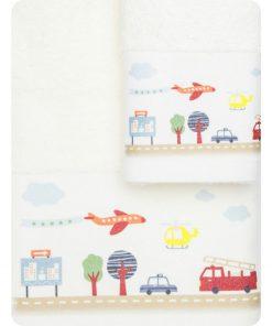 Σετ (2τμχ) Παιδικές Πετσέτες ΔΡΟΜΟΣ της BOREA (70x120 + 30x50) ΕΚΡΟΥ