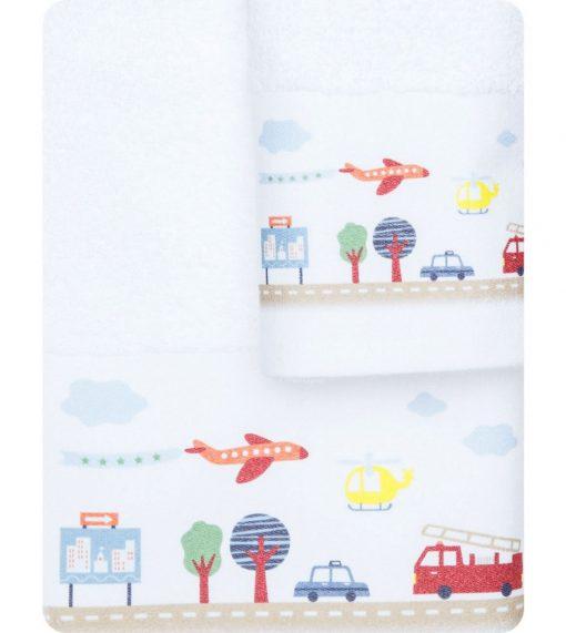 Σετ (2τμχ) Παιδικές Πετσέτες ΔΡΟΜΟΣ της BOREA (70x120 + 30x50) ΛΕΥΚΟ