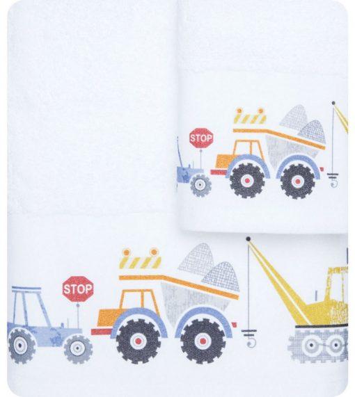 Σετ (2τμχ) Παιδικές Πετσέτες ΦΟΡΤΗΓΑ της BOREA (70x120 + 30x50) ΛΕΥΚΟ