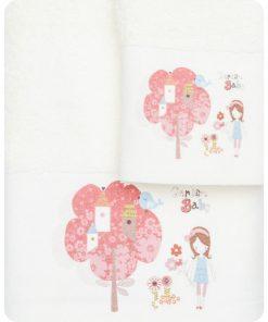 Σετ (2τμχ) Παιδικές Πετσέτες ΚΗΠΟΣ της BOREA (70x120 + 30x50) ΕΚΡΟΥ
