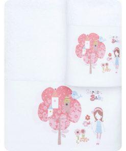 Σετ (2τμχ) Παιδικές Πετσέτες ΚΗΠΟΣ της BOREA (70x120 + 30x50) ΛΕΥΚΟ