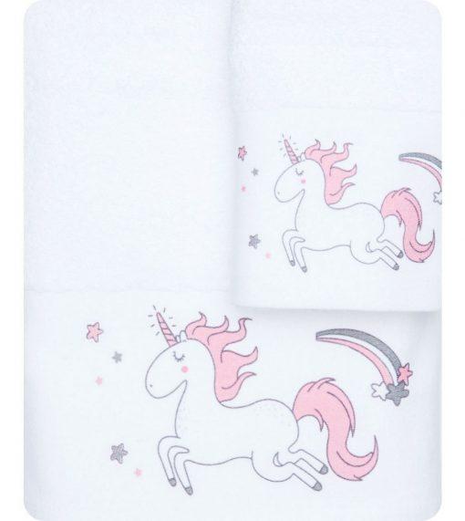 Σετ (2τμχ) Παιδικές Πετσέτες ΜΟΝΟΚΕΡΟΣ της BOREA (70x120 + 30x50) ΛΕΥΚΟ