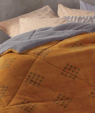 Κουβερτοπάπλωμα με Γουνάκι Μονό INFINITY της NEF-NEF (160x220) MOUSTARD