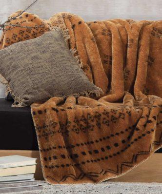 Fleece Κουβέρτα Καναπέ / Ριχτάρι RAGNAR της NEF-NEF (130x170) MUSTARD
