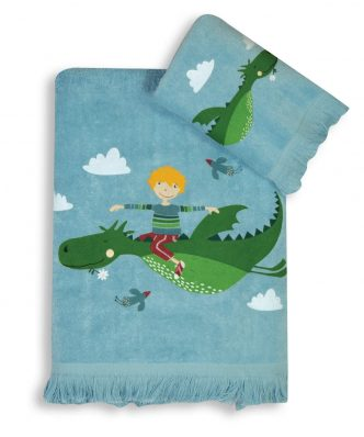 Σετ (2τμχ) Παιδικές Πετσέτες DRAGON WORLD της NEF-NEF -LIGHT BLUE