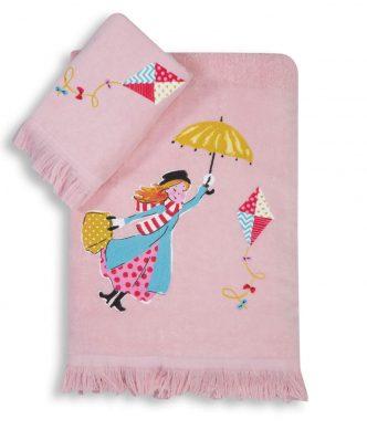 Σετ (2τμχ) Παιδικές Πετσέτες MARY POPPINS της NEF-NEF -PINK