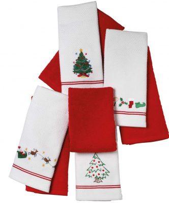 Χριστουγεννιάτικα Ποτηρόπανα Κουζίνας (2 τμχ.) Christmas 0600 της Das Home (40x60) - ΚΟΚΚΙΝΟ/ΛΕΥΚΟ