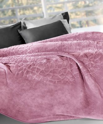 Βελουτέ Κουβέρτα Υπέρδιπλη MADISON της Guy Laroche (220x240) OPAL ROSE