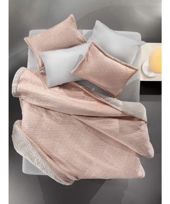 Fleece κουβέρτα Υπέρδιπλη με γουνάκι RISTRETTO της Guy Laroche (220x240) PUDRA