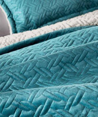 Fleece κουβέρτα Υπέρδιπλη με γουνάκι RISTRETTO της Guy Laroche (220x240) PETROL