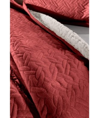 Fleece κουβέρτα Υπέρδιπλη με γουνάκι RISTRETTO της Guy Laroche (220x240) ROSSO