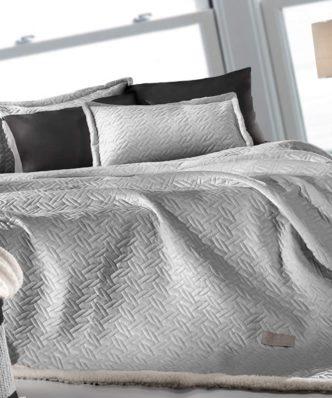 Fleece κουβέρτα Υπέρδιπλη με γουνάκι RISTRETTO της Guy Laroche (220x240) SILVER
