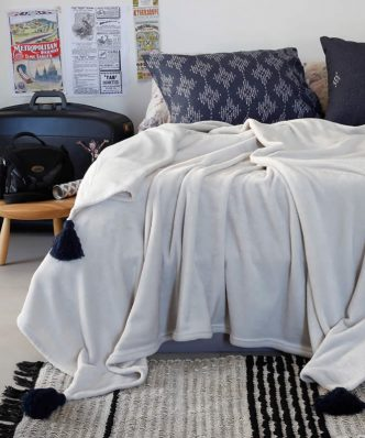 Fleece Κουβέρτα Μονή RUBY της MELINEN (160x220) GREY