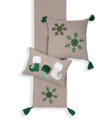 Χριστουγεννιάτικο Διακοσμητικό Μαξιλάρι SNOW TIME της NEF-NEF (30x45) L.GREY