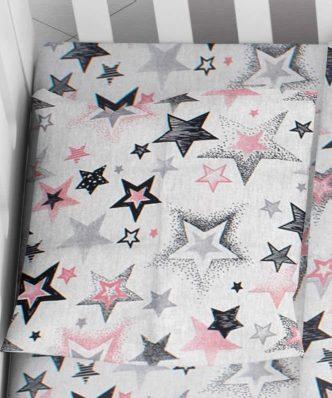 Βρεφική Μαξιλαροθήκη Star 122 της DIMcol (35x45) Grey-Pink