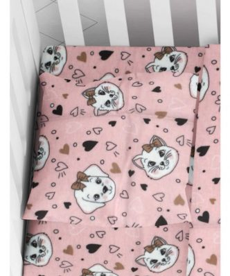 Βρεφική Φανελένια Μαξιλαροθήκη Puppy-Kitten 18 της DIMcol (35x45) Pink
