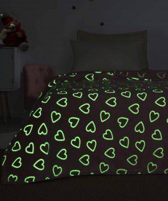 Παιδική Κουβέρτα Fleece Ημίδιπλη Luminous SWEETHEART της Palamaiki (160x220) - Φωσφορίζει στο σκοτάδι!