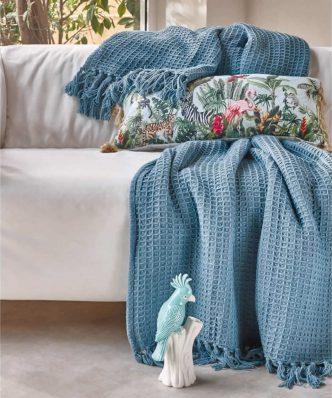 Loft SOFIA 19 Διακοσμητική Κουβέρτα TV της ΚΕΝΤΙΑ (130x170) BLUE