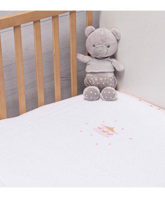 Βρεφική Πικέ κουβέρτα Κούνιας CAROUSEL PINK της ΑΒΟ (100x150)