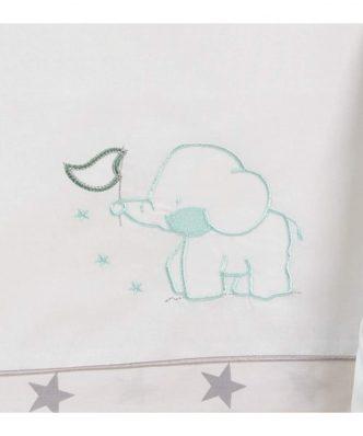 Σετ (3τμχ) Βρεφικά Σεντόνια κούνιας ELEPHANT ΜΕΝΤΑ (με λάστιχο) της ΑΒΟ - (110x170)