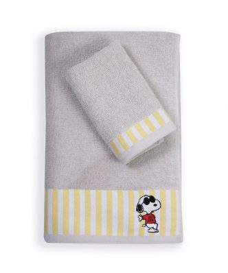 Σετ (2τμχ) Παιδικές Πετσέτες Μπάνιου SNOOPY ROCKSTAR της NEF-NEF - GREY
