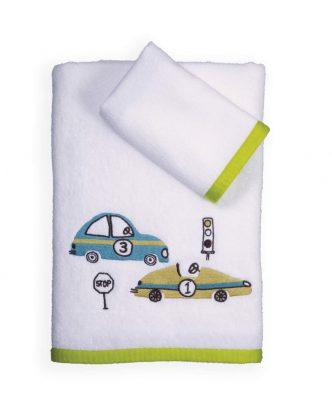 Σετ (2τμχ) Παιδικές Πετσέτες Μπάνιου RACE LAND της NEF-NEF - WHITE