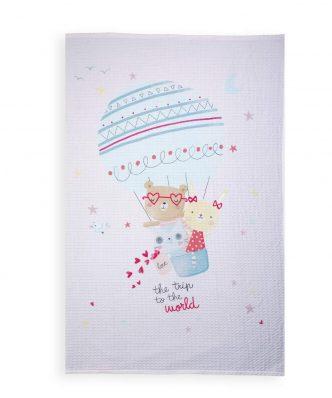 Βρεφική Πικέ Κουβέρτα Αγκαλιάς TRIP TO THE WORLD PINK της NEF-NEF (80x110) PINK