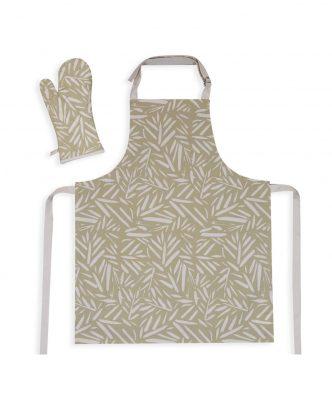 Σετ Ποδιά & Γάντι Κουζίνας NATURA της NEF-NEF (63x79+18x33) GREEN