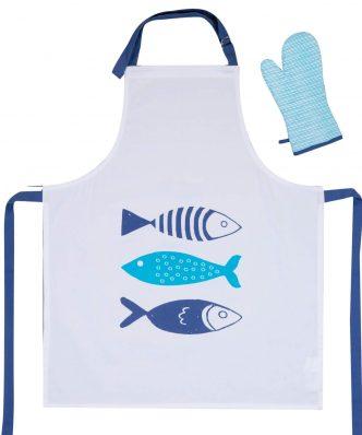 Σετ Ποδιά & Γάντι Κουζίνας FISHES WAY της NEF-NEF (63x79+18x33) WHITE