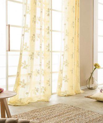 Έτοιμη Κουρτίνα με Τρουκς Leaf 532/10 της GOFIS HOME (140x 280) Lemon