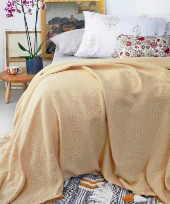 Καλοκαιρινή Κουβέρτα Πλεκτή ALBA της MELINEN - LEMON